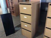 Oak four drawer filing cabinet