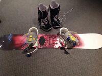 Planche à neige, fixations et bottes Burton