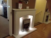 Plain Gothic II Complete Fireplace in White Marble With Lights