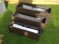Set of 3 new brown sandstone effect fibrecotta trough planters