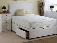 DAMASK FABRIC DIVAN BED + ORTHOPEDIC MATTRESS // HEADBOARD DIVAN BED BASE SINGLE DOUBLE KINGSIZE .