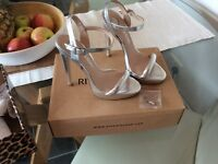 River Island silver heeled shoes