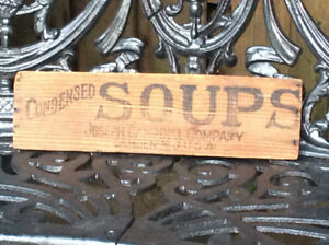 Antique CONDENSED CAMPBELL SOUPS wooden board !