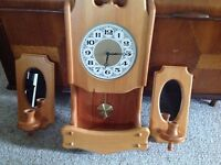 Elliot Lake- solid pine clock & candle stick set