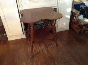 Antique Glass Claw Foot Parlor Table