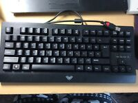 mechanical keyboard with blue switch.