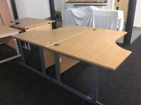 2 x Oak Lshape desks