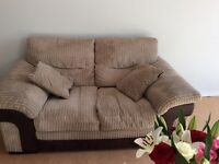 Lovely two seater sofa VGC in mink velvety type material.