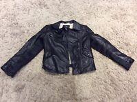 Girls black leather look jacket from Zara
