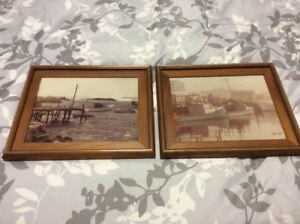 2 framed photographs by Ed Cook, fishing boats