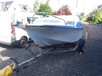 18.5 ft Fishing boat on trailer diy project sea river or loch no outboard