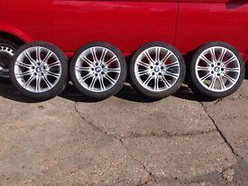 BMW Genuine 18 inch MV2 alloys staggered 2 New tyres M sport e46