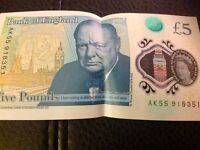 New POLYMER Five Pound Note