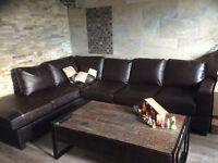 Espresso Sacramento Leather Sectional Sofa