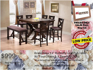 "◆Brand New 6 PCs Pub Table w/12"" Leaf W/4 Chairs & 1 Bench@NEWD!"