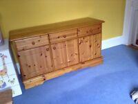 Solid pine wood sideboard