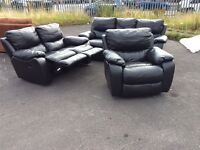 Harveys black leather Oberon reclining 3+ 2 and armchair ex display model