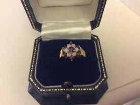 9ct gold opal and garnet ring