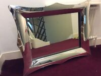 LARGE WALL MIRROR IN CURVED MIRROR FRAME