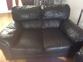 2 seater black leather sofa/settee