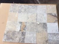 Travertine natural Stone wall tiles mixed silver colours 100mm 100mm