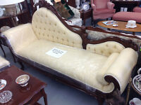 Antique Chaise Lounge and Matching Chair