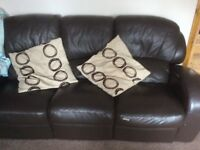 Excellent brown leather sofas 3 and 2 seater