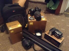 D90 NIkon camera with accessories