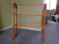 Freestanding wooden towel rail