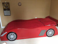 AWESOME WOODEN RACE CAR BED WITH MATRESS