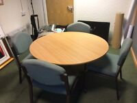 Oak round table and four chairs