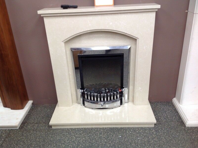 Small Curve Coral Cream Micromarble Fireplace