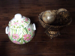 Elegant  Hand Painted  soup tureen with top and ladle