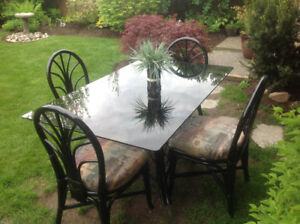 Black Rattan Patio Set/Dining Table