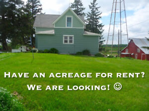 Quiet young family looking for small acreage