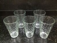 Five water glasses