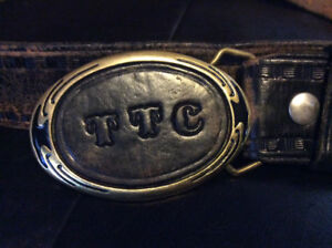 VINTAGE TTC UNIFORM LEATHER BELT WITH SOLID BRASS BELT BUCKLE