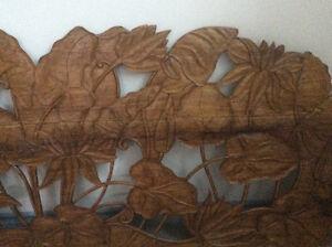 Vintage mid century modern large solid teak wood hand carved art Windsor Region Ontario image 3