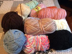 Knitting needles, yarn and books