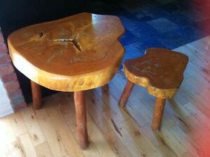 table de salon en bois / bûche