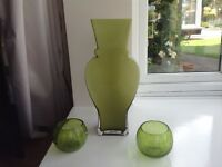 Green glass vase & two glass bowls