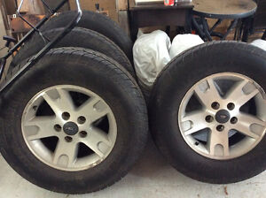 "17"" Ford aluminum rims with tires"