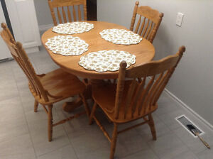 Solid Oak Kitchen table and chairs- made by Mennonites