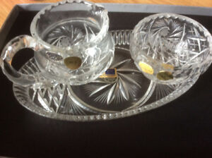 Sugar Bowl /Cream/ Tray Set  24% Bohemia Pinwheel Crystal - Hand