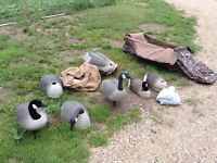 Goose decoys and layout blind