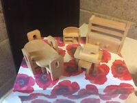 Wooden Doll's House Dining Room Furniture Set