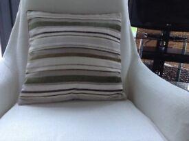 Green/brown stripe cushion