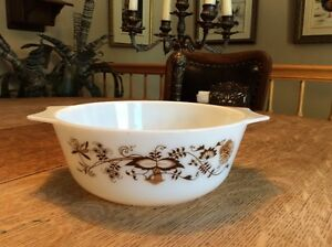 PYREX  Brown Blue onion   Vintage   collectionneur