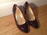 Russell and Bromley purple patent leather heels. Size 38.5/ 5.5