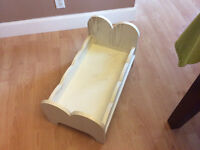 solid wooden doll bed